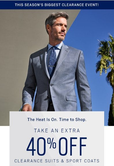 Extra 40% Off Clearance Suits & Sport Coats from Men's Wearhouse