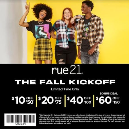$10 off $50, $20 off $75, $40 off $100, $60 off $150 from rue21