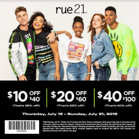 $10 Off $40; $20 Off $60; $40 Off $100 from rue21