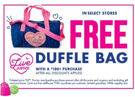 Free Duffle Bag with $100 or More Purchase