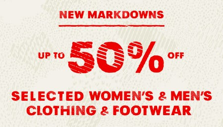 New Markdowns Up to 50% Off Selected Women's & Men's Clothing & Footwear from REI