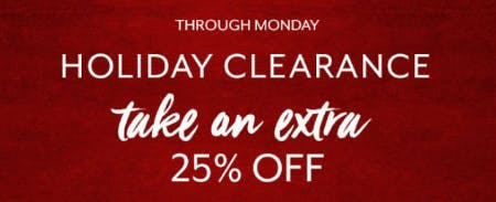 Extra 25% Off Holiday Clearance