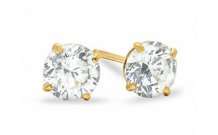 5mm Cubic Zirconia Stud Earrings in 10K Gold
