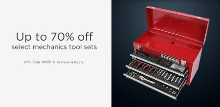 Up to 70% Off Select Mechanics Tool Sets from Sears