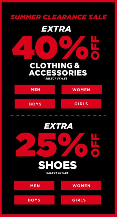 Extra 40% Off Clothing & Accessories + Extra 25% Off Shoes
