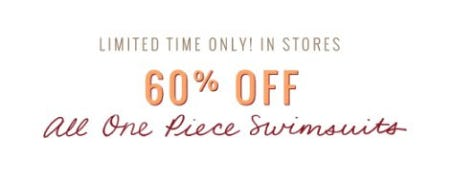 60% Off All One Piece Swimsuits
