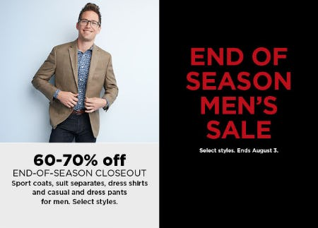 60-70% Off End Of Season Men's Sale from Kohl's