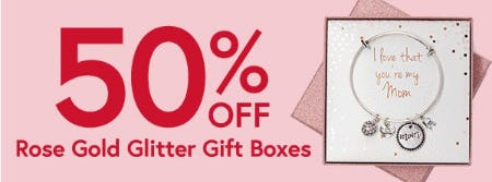 50% Off Rose Gold Glitter Gift Boxes from Things Remembered
