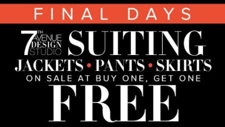 7th Avenue Suiting Jackets, Pants & Skirts on Sale at Buy One, Get One Free