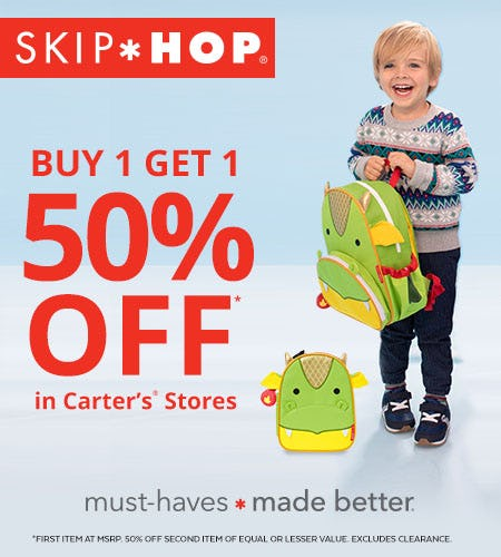 Skip Hop: Buy 1 Get 1 50% Off In Carter's Stores from Carter's Oshkosh