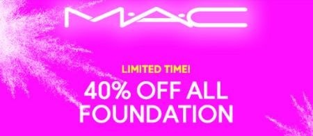 40% Off All Foundation from M.A.C