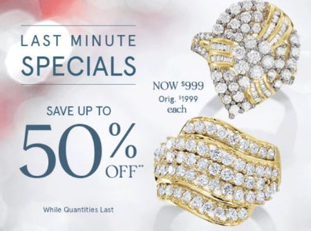 Last Minute Specials up to 50% Off from Zales Jewelers