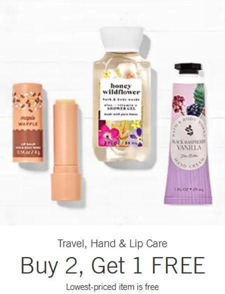 Travel, Hand & Lip Care Buy 2, Get 1 Free