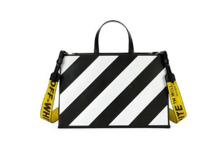 Off-White Medium Diagonal-Stripe Box Tote Bag from Neiman Marcus