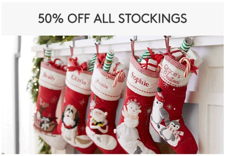 50% Off All Stockings from Pottery Barn Kids
