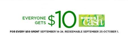 $10 Kohl's Cash