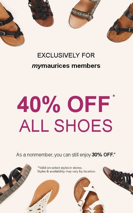 40% Off All Shoes from maurices