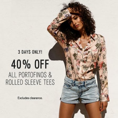 40% Off All Portofinos & Rolled Sleeve Tees from Express