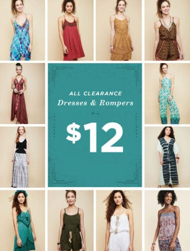 $12 All Clearance Dresses & Rompers from Earthbound Trading Company