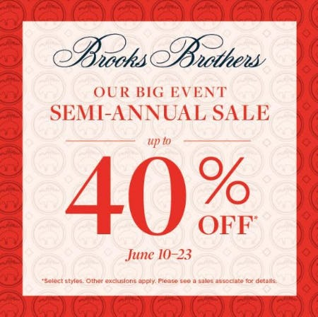 Semi-Annual Sale up to 40% Off from Brooks Brothers