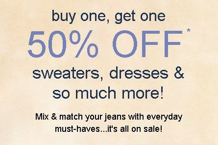 Buy One, Get One 50% Off Sweaters, Dresses & So Much More from maurices