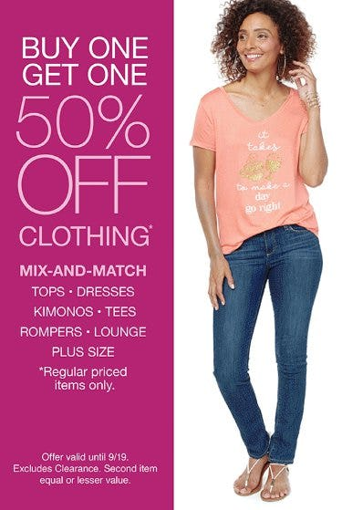 Buy One, Get One 50% Off Clothing