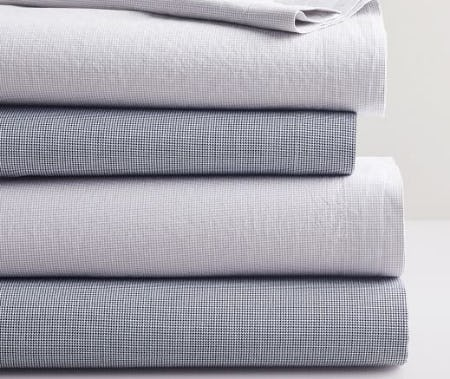 Organic Mini Check Sheet Set from West Elm