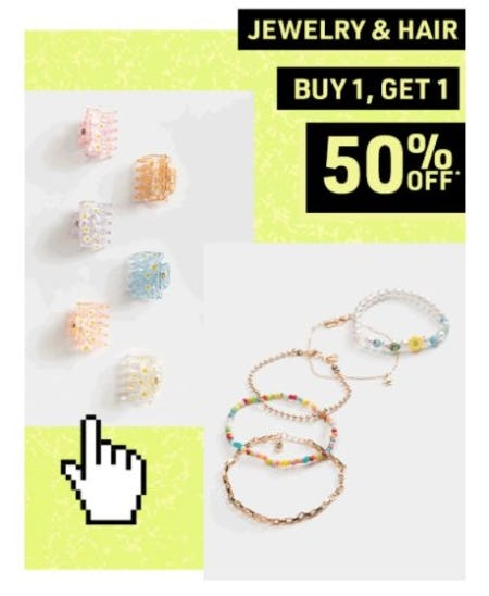 B1G1 50% Off Jewelry & Hair from Tillys