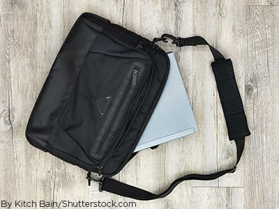 A black carrying case for a laptop