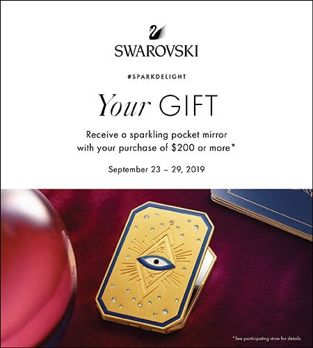 Free Sparkling Pocket Mirror with purchase of $200 or more from Swarovski