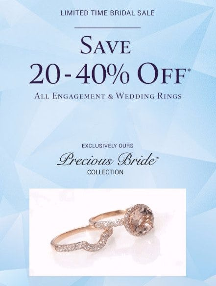 Save 20-40% Off All Engagement & Wedding Rings