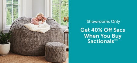 Get 40% Off Sacs, When You Buy Sactionals from Lovesac Designed For Life Furniture Co