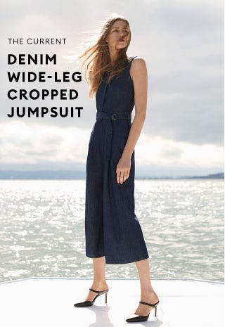 The Current Denim Wide-Leg Cropped Jumpsuit