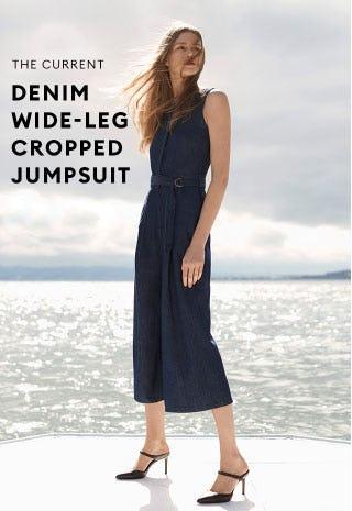 The Current Denim Wide-Leg Cropped Jumpsuit