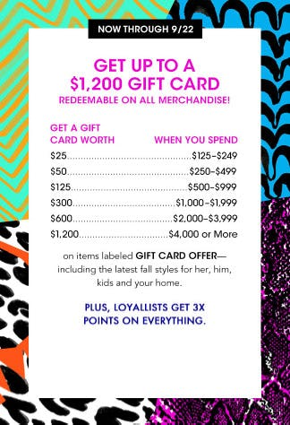 Get Up to a $1,2000 Gift Card