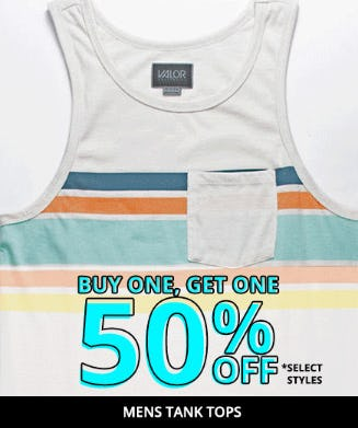 BOGO 50% Off Mens Tank Tops from Tillys