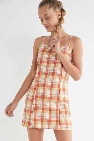 Urban Renewal Remnants Plaid Straight-Neck Mini Dress from Urban Outfitters