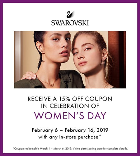 Women's Day Offer:  Receive a 15% off coupon from Swarovski