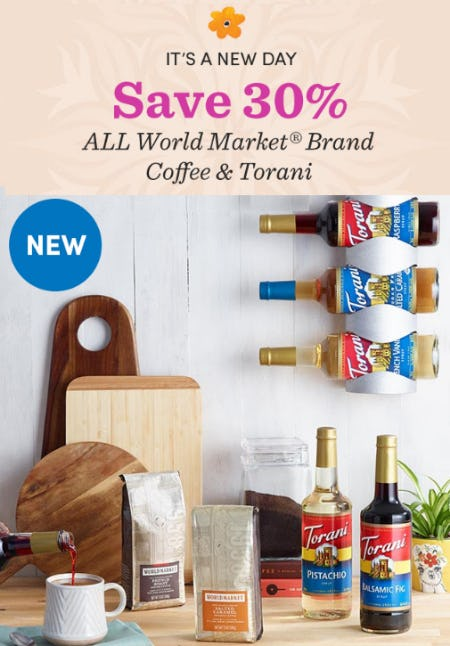 Save 30% All World Market Brand Coffee & Torani from Cost Plus World Market