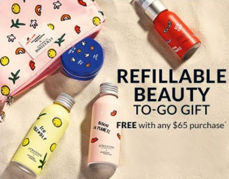 Refillable Beauty To-Go Gift Free with Any $65 Purchase from L'Occitane