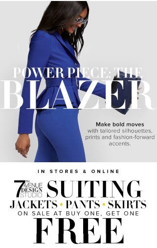 7th Avenue Suiting on Sale at Buy One, Get One Free from New York & Company
