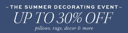 Up to 30% Off The Summer Decorating Event from Pottery Barn