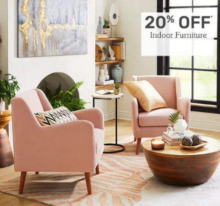 20% Off Indoor Furniture from Pier 1 Imports