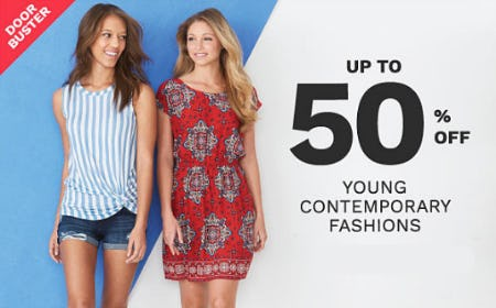Up to 50% Off Young Contemporary Fashions