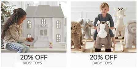 20% Off Kids' Toys and Baby Toys from Pottery Barn Kids