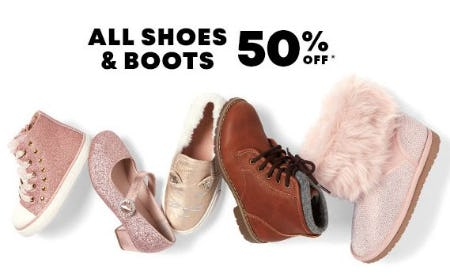 50% Off All Shoes & Boots from The Children's Place