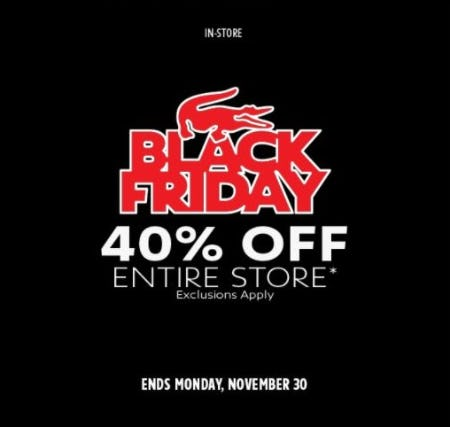 Black Friday: 40% Off Entire Store from Lacoste
