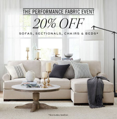 20% Off The Performance Fabric Event from Pottery Barn