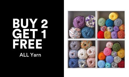 Buy 2, Get 1 Free on All Yarn from Michaels