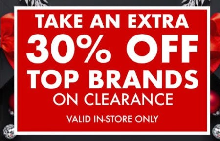Extra 30% Off Top Brands on Clearance